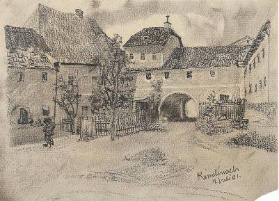 Kohlzeichnung Rinchnach 1901