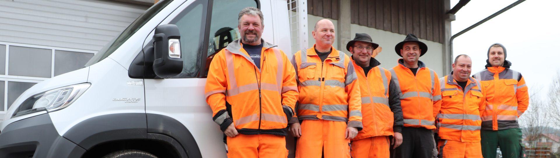 Das Bauhof-Mitarbeiterteam v.l. Bauhofleiter Thomas Denner, Arno Graf, Stefan Hartmann, Josef Kreuzer, Andreas Köstlmeier und Christian Kopp.
